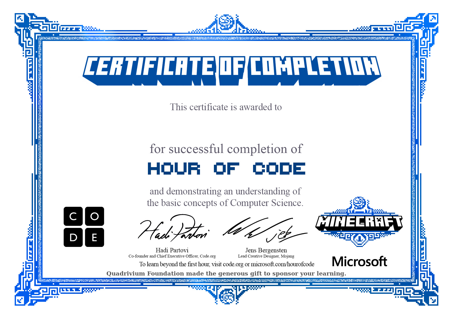Certificate for Completion of One Hour of Code