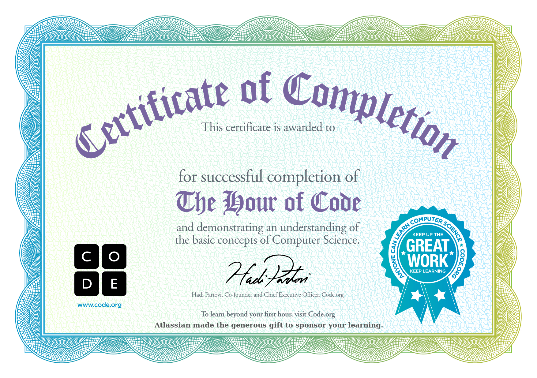 Certificate for Shelby
