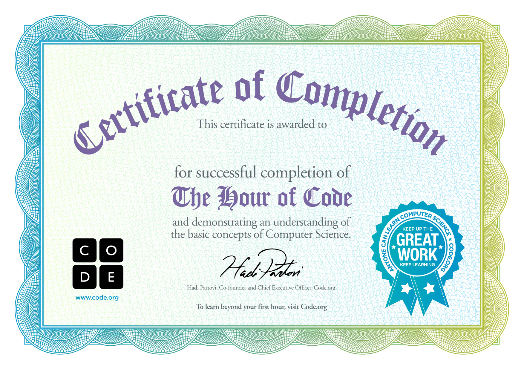 Congratulations On Completing One Hour Of Code  Congratulations Certificates